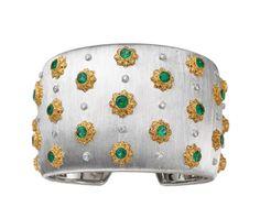 "Buccellati cuff bracelet with emerald and diamonds, engraved using the ""regato"" technique, a Buccellati speciality."