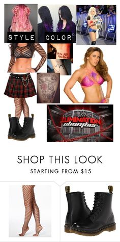 """""""Elimination Chamber Match Gear"""" by varsityprincrss ❤ liked on Polyvore featuring Hue, Dr. Martens and WWE"""