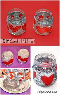 GlitteryUpcycled Baby Food Jar Candle Holders - fun craft idea for Valentine's Day suitable for preschoolers and older!