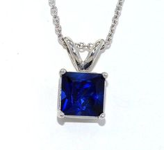 1 Carat Blue Sapphire Princess Cut Pendant by ElizabethJewelryInc, $24.99