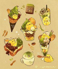 Cute Food Drawings, Cute Kawaii Drawings, Arte Do Kawaii, Kawaii Art, Dessert Illustration, Cute Illustration, Chibi Food, Cute Food Art, Food Sketch