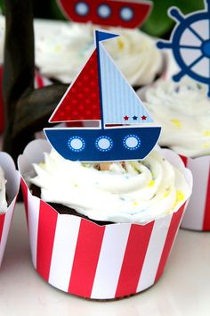 Nautical Birthday Party Cupcake Toppers Set of by PaperPartyParade Boat Theme, Baby Showers, Cupcake Wrappers, Cupcake Party, 2nd Birthday, Cake Toppers, Nautical, Baby Boy, Naive