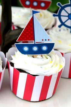 Cumpleaños náutico fiesta Cupcake Toppers por PaperPartyParade