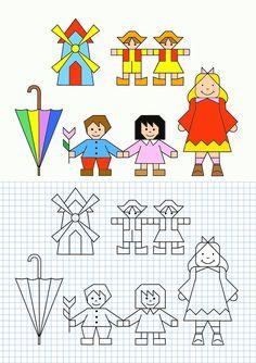 cornicette a quadretti di matematica - Cerca con Google Graph Paper Drawings, Graph Paper Art, Easy Drawings, Drawing For Kids, Art For Kids, Blackwork Embroidery, Coding For Kids, Drawing Lessons, Colorful Pictures