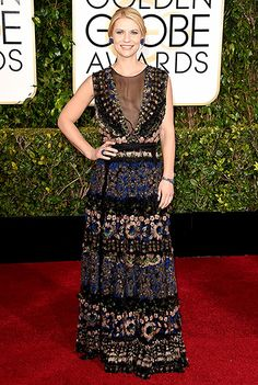 Claire Danes The Lead Actress nominee for Homeland picked a feathered, floral Valentino dress and Lorraine Schwartz jewels.