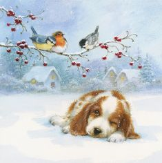 Cute Christmas Wallpaper, Christmas Artwork, Christmas Drawing, Noel Christmas, Christmas Paintings, Christmas Animals, Vintage Christmas Cards, Christmas Pictures, Winter Christmas Scenes