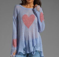 Red Heart Print Loose Ripped Sweaters