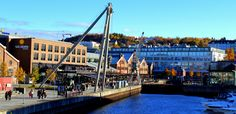 Solsiden area with music clubs, restaurants, hotel and shopping. Trondheim Norway, Outdoor Activities, San Francisco Skyline, Restaurants, Architecture, City, Music, Travel, Shopping