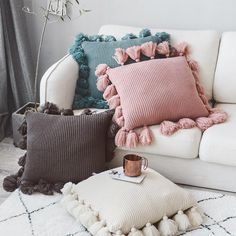 Knit Cushion Cover Solid Ivory Grey Pink Ivory Green Solid Pillow Case Soft For Sofa Bed Nursery Room Decorative. Cute Cushions, Colourful Cushions, Cute Pillows, Diy Pillows, Throw Pillows, Cushions On Bed, Vintage Cushions, Cushions For Sofa, Floor Cushions