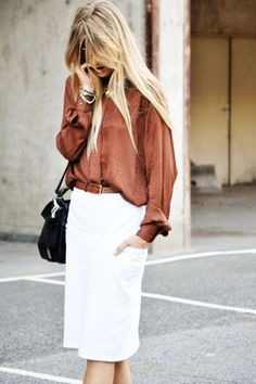 What to Wear to Work, Spring Edition: Rust Silk Blouse, White Pencil Skirt, Black Shoulder Bag