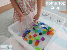 Scoop and catch fun! Bottle Top Soup Game is a fun sensory activity using simple items found around the home. Toddler Learning Activities, Sensory Activities, Fun Learning, Teaching Kids, Reading Activities, Kindergarten, Preschool Classroom, Preschool Ideas, Kids Part
