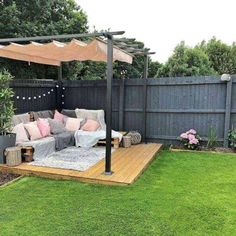 - Backyard Pergola DIY - Pergola with Garag ceiling ., - Backyard DIY Pergola - Pergola with roof garage doors - Pergola DIY Wedding Decorations When historic with thought, your pergola has become suffering from a bit of a current. Backyard Seating, Backyard Patio Designs, Small Backyard Design, Seating Area In Garden, Outside Seating Area, Outdoor Patios, Modern Backyard, Small Backyard Landscaping, Pergola Designs