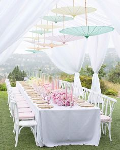 S P R I N G 💗 S O I R E E Ombré themed garden wedding reception has us wishing winter goodbye 👋 Image Credit Fun Wine Glasses, Garden Parasols, Strictly Weddings, Summer Events, Event Design, Tablescapes, Table Settings, Table Decorations, Luxury