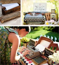 Arrange an old-fashioned typewriter together with long pieces of paper for guests to type their good wishes as the mood strikes.