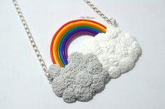 Collana Arcobaleno-Gioielli Fimo-Arcobaleno nuvole-Collezione Arcobaleno.