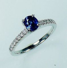 Certified 18KT White Gold 1.05 tcw Blue Oval Cut by SapphireRingCo, $1875.00 by Sapphire Ring Co. @ www.sapphireringco.com