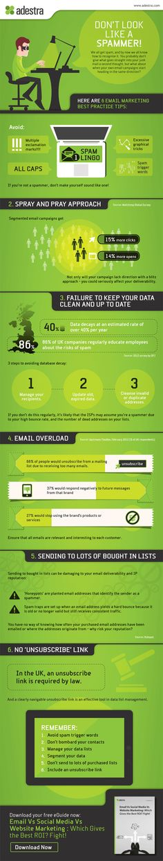 Don't Look Like a Spammer [infographic] Adestra, the kings of email deliverability in the UK bring you their 6 best Practice tips to getting into the inbox Email Marketing Campaign, Email Marketing Strategy, Event Marketing, Business Marketing, Content Marketing, Online Marketing, Social Media Marketing, Digital Marketing, Affiliate Marketing
