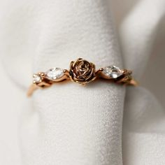 Cute Promise Rings, Cute Rings, Pretty Rings, Delicate Engagement Ring, Dream Engagement Rings, Gold Diamond Rings, Marquise Diamond, Rose Gold Rings, Rose Gold Flower Ring