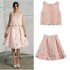 Top Quality Runway 2014 Pink Cute Top+ Lovely  Skirt (1 set)   Cute Pink Skirt suits for women  140510VV04 $75.00
