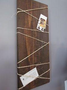 Easy to make display- by a wood board- wrap some twine!   #office #desk #creative #store #work #desktop #userinterface #designer <<< repinned by www.BlickeDeeler.de   Follow us on www.facebook.com/BlickeDeele