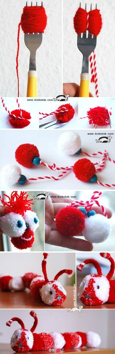 so fluffy! Good for kids to make as favors or gift tag ornaments