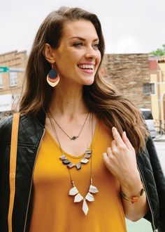Fair Trade, Jewelry, India, Revelry Earrings, Navy, Orange, Leather, Mixed Metal, Noonday Collection.