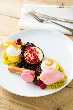 Pistachio and lime gateaux with summer berry compote, frozen dry raspberry's soil and lime posset by chef Adrian Robert #dessert