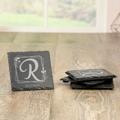 Monogram Slate Coasters Personalized Gifts For Grandparents, Personalized Housewarming Gifts, Personalized Coasters, Unique Gifts For Couples, Couple Gifts, Slate Coasters, Last Minute Christmas Gifts, Slate Stone, Bar Gifts
