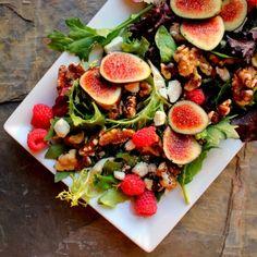 A Bachelor And His Grill: Fresh Fig & Walnut Salad With Lemon Lime Vinaigrette