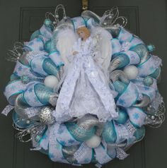 RESERVED for Lois S.  Angel Christmas Wreath by EverWreath on Etsy