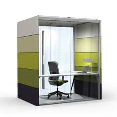 Telephone booth, modern office desk, mini office, office fit out, offic Modern Office Desk, Office Fit Out, Mini Office, Small Office, Office Spaces, Box Office, Office Lobby, Contemporary Office, Work Spaces