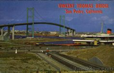Vincent Thomas Bridge San Pedro California Connecting San Pedro with Terminal Island and Long Beach, this is Southern California's first major suspension bridge. It was named in honor of Mr. Vincent Thomas, Long-time San Pedro resident who, working as a state Assemblyman, was chiefly responsible for getting the 6,060 foot bridge built.