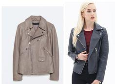 Moto leather jackets. Splurge vs. Steal Leather Biker Jacket, $299 CAD, ZARA Quilted Moto Jacket, $58.80 CAD, Forever 21