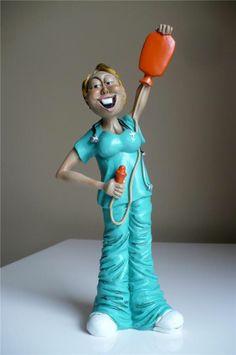 NURSE figurine HOLDS ENEMA GIFT GRADUATE STUDENT NURSING 9.6 IN WARREN STRATFORD