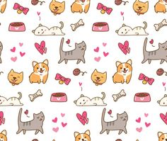 Find Dog Cat Kawaii Background stock images in HD and millions of other royalty-free stock photos, illustrations and vectors in the Shutterstock collection. Thousands of new, high-quality pictures added every day. Kawaii Background, Cat Background, Pet Shop, Gatos Vector, Animal Stencil, Dog Cat, Royalty Free Stock Photos, Doodles, Illustration