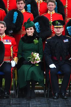 hrhduchesskate: St. Patrick's Day Parade, 1st Battalion Irish Guards, Calvary Barracks, Hounslow, March 17, 2018-Duchess of Cambridge with the Irish Guards