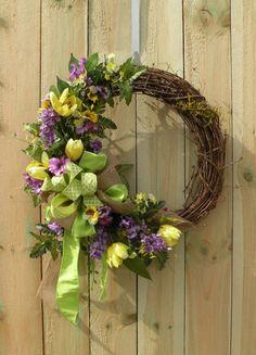 Spring Wreath Summer Wreath Burlap Wreath by KathysWreathShop