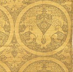 """boneandpapyrus: """" Cloth of gold (silk) patterned with winged lions and griffins, Central Asia, c. 1240 - 1260 AD (Ilkhanid period) Cleveland Museum of Art """""""