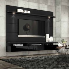 Manhattan Comfort Cabrini 2.2 Floating Wall Theater Entertainment Center for TVs up to 70 inch, Multiple Colors, Black