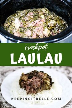 hawaiian food recipes Juicy, tender meat wrapped in leafy greens slow cooked to perfection. This deconstructed Crock Pot laulau takes the effort out of making laulau. Slow Cooker Recipes, Crockpot Recipes, Cooking Recipes, Hawaiian Dishes, Hawaiian Recipes, Ono Kine Recipes, Island Food, Greens Recipe, Pork Dishes