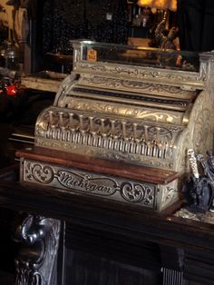 Ornate Antique Michigan Cash Register c. early 1900's