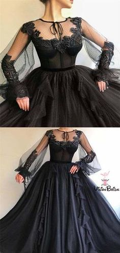 Black Long A-line Prom Dress, Long sleeves Modest Prom Gown, Shop plus-sized prom dresses for curvy figures and plus-size party dresses. Ball gowns for prom in plus sizes and short plus-sized prom dresses for Modest Prom Gowns, Sequin Prom Dresses, Prom Dresses Long With Sleeves, Women's Evening Dresses, A Line Prom Dresses, Tulle Prom Dress, Dress Long, Tulle Lace, Boho Dress