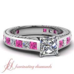 2.30 Ct Princess Cut Diamond & Pink Sapphire Engagement Ring Cut:Very Good SI1-F..... I WANT