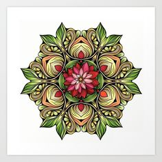 Ornamented Flowers Art Print by Salome | Society6