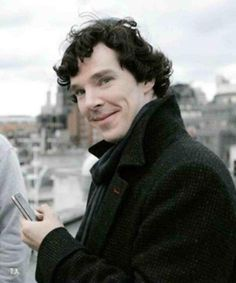 """I'd like to think that John took this picture when Sherlock was in a good mood one day. He made some stupid joke then when Sherlock was smiling, called his name and snapped this. He had it printed out and now keeps it in his wallet. Benedict Sherlock, Sherlock Bbc, Benedict Cumberbatch Sherlock, Sherlock Poster, Funny Sherlock, Johnlock, John Watson, Martin Freeman, Tom Hiddleston"