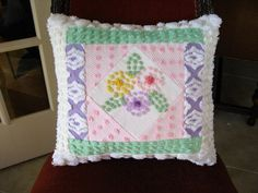 Kaleidoscope Whimsy Vintage Chenille Pillow  by SURELYCHENILLE