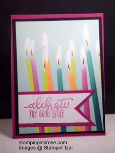 Stampin' Up! Birthday card made with Picture Perfect Birthday stamp set and designed by Demo Pamela Sadler. Let the Picture Perfect Party stand out. You can make so many critters with this stamp set. See more cards at stampinkrose.com and etsycardstrulyheart