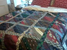 DIY Necktie Quilt ...recycle old neck ties this would be awesome to make with the ties of a loved one who has passed away.