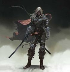 m Drow Elf Fighter Plate Cape Sword Warrior Dark Fantasy, Fantasy Female Warrior, Elf Warrior, Fantasy Rpg, Fantasy Artwork, Woman Warrior, Elf Characters, Dungeons And Dragons Characters, Fantasy Characters