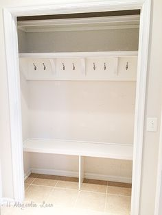 How to take a coat closet and make it a mudroom, so much easier for coat storage and backpack organization. Now the It's much easier for…